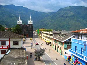 Baños landscape with cathedral
